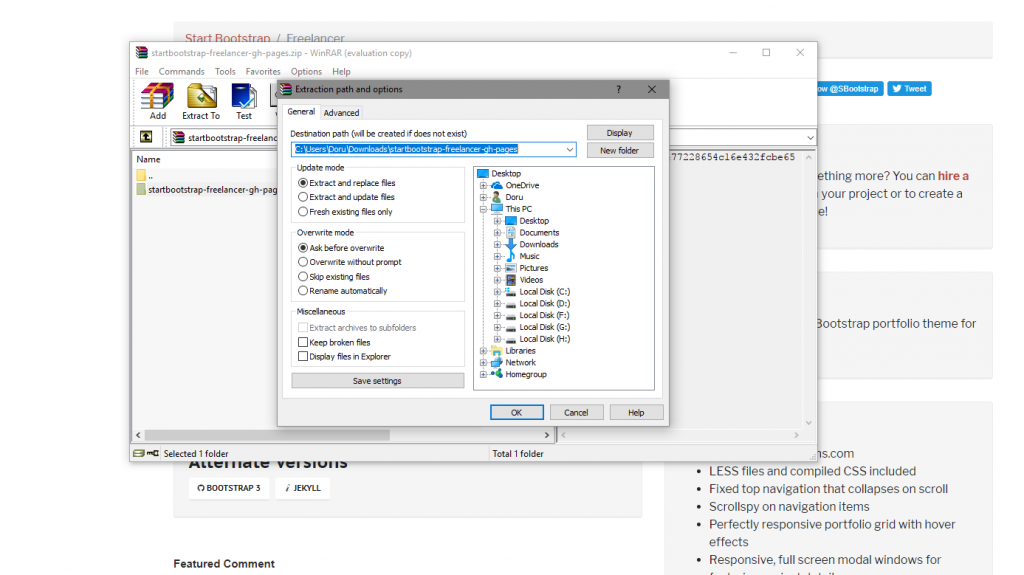 Download file and extract content into your folder