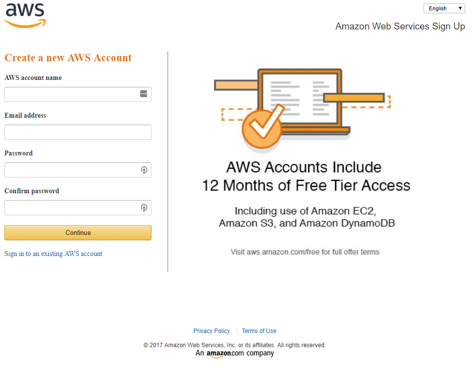 Create account on AWS