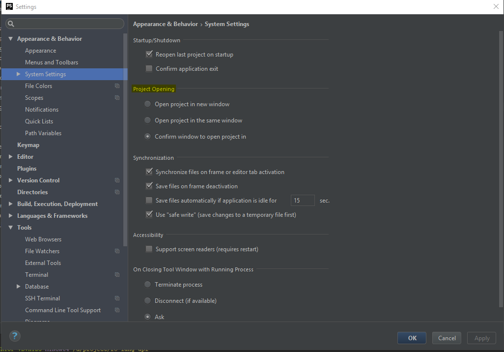 PHPStorm Settings window