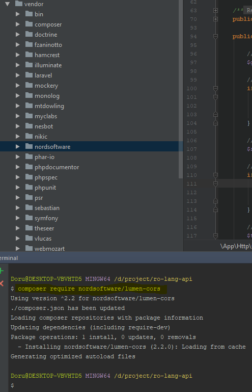 run command: composer require nordsoftware/lumen-cors