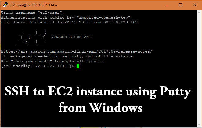 SSH into EC2 using Putty Windows