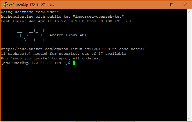 Successfully SSH into EC2 instance