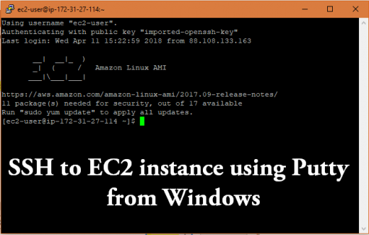 SSH into EC2 using Putty Windows
