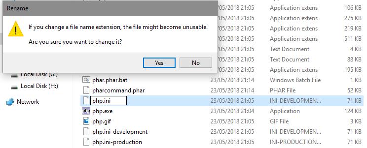 Create php.ini file