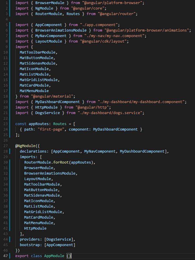 app.module.ts file - so far