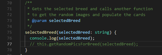 selectedBreed()