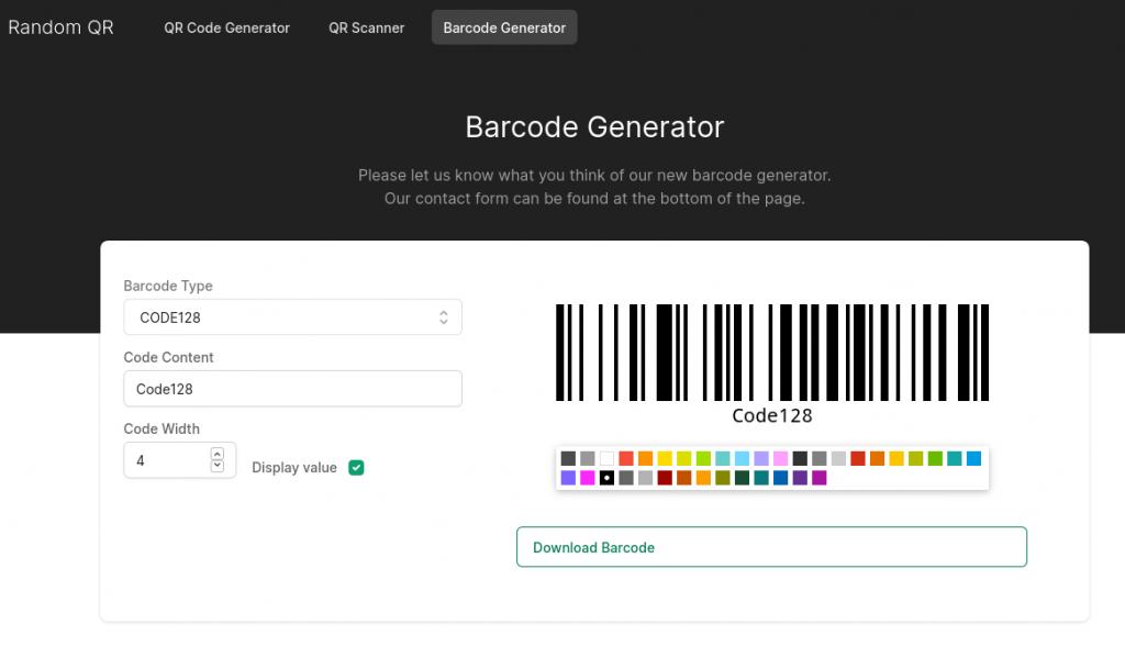 RandomQR - Barcode Generator